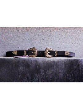 Mini Double Buckle Belt Gold by Indigo Lush Leather