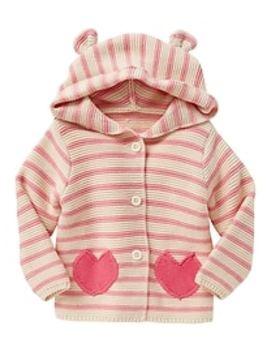 Stripe Heart Garter Hoodie Cardigan by Gap