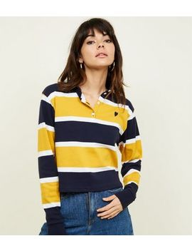 Mustard Stripe Heart Logo Rugby Top by New Look