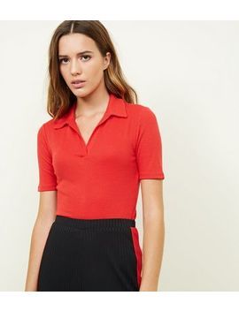 Red Collar Neck T Shirt by New Look