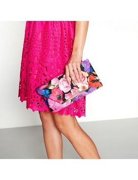 Debut   Multi Coloured Floral Print Clutch Bag by Debut