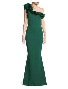 Elisir One Shoulder Gown W/ Organza Ruffle by Chiara Boni La Petite Robe