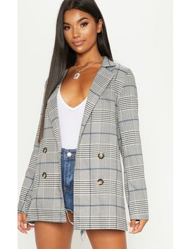 Grey Checked Button Blazer  by Prettylittlething