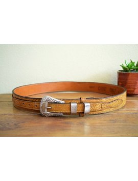 Vintage Size 34 36 Light Brown Shrunken Grain Leather Western Belt With Detailed Silver Tone Buckle And Keepers Cowboy Cowgirl Ranch Style by El Camino Vtg