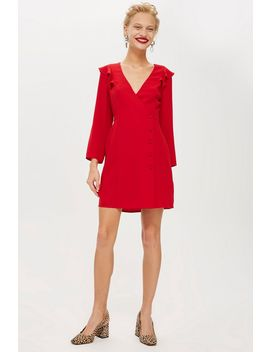 Button Wrap Mini Dress by Topshop