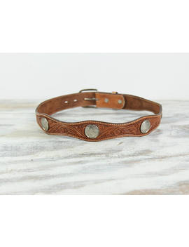 Silver Concho Belt Brown Leather Belt Tooled Belt Vintage Belt Scallop Edge Cowhide Leather Western Wear Cowboy Punchy Circle Y Size 30 by Lazy Day Relics