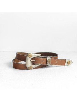 26 Waist | Nickel Silver Western Buckle & Tip W/ Brown Leather Strap by Rabbit House Vintage