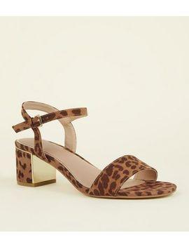 Wide Fit Tan Leopard Print Mid Block Heels by New Look