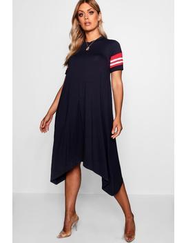 Plus Sports Trim Hanky Hem Dress by Boohoo