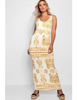 Plus Gemma Baroque Plunge Slinky Maxi Dress by Boohoo