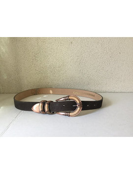 Belt,Vintage Brown Belt,Copper Buckle,Brown Faux Suede Belt,Copper With Wood Buckle,Vintage  Medium Belt,37 Inch Belt, by Quality Not Quantity