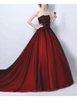 Red Embroidered Silk Strapless Gown   Women by Coeur De Vague