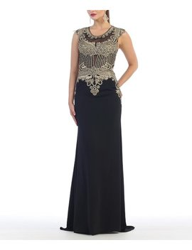 Black Embellished Illusion Bodice Cap Sleeve Gown   Women by May Queen