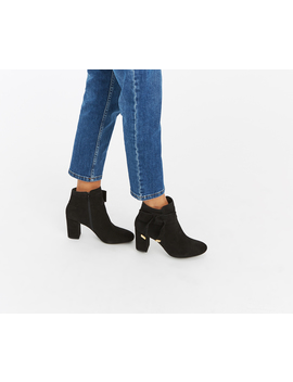 Bow Suede Ankle Boots by Oasis
