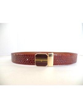 Vintage 80s Snakeskin Belt, Chestnut Brown, Gold Buckle by Lume Adore Vintage