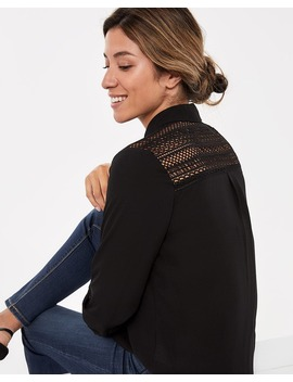 ¾ Sleeve Blouse With Crochet by Reitmans