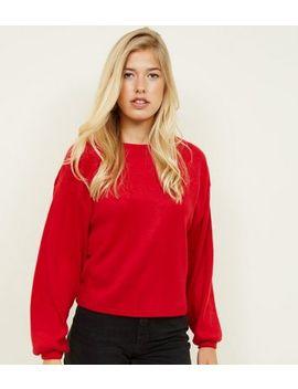 Red Fine Knit Balloon Sleeve Sweatshirt by New Look