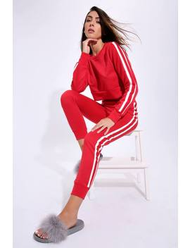 Red Joggers With Trim by I Saw It First