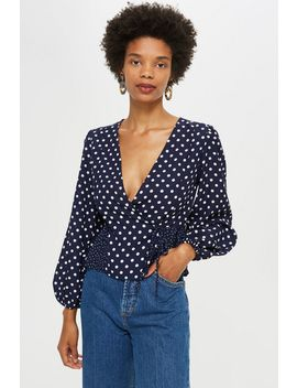 Mix Polka Dot Wrap Blouse by Topshop