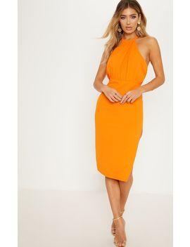 Bright Orange Halterneck Midi Dress by Prettylittlething