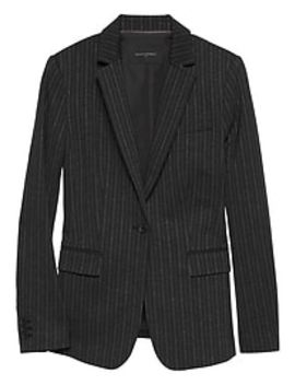 Petite Machine Washable Charcoal Chalkstripe Long And Lean Ponte Suit Blazer by Banana Republic Factory
