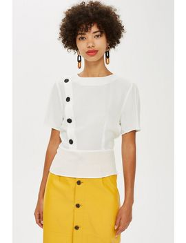 Button Short Sleeve Blouse by Topshop