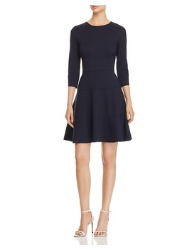 Seamed Ponte Fit And Flare Dress by Three Dots