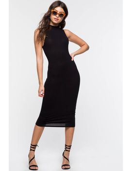 Ribbed Mock Neck Column Dress by A'gaci