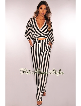 Black White Striped Kimono Wrap Palazzo Two Piece Set by Hot Miami Style