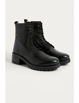 Uo Zoe Leather Combat Boot by Urban Outfitters