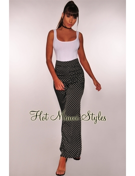 Black White Polka Dot High Waist Pants by Hot Miami Style