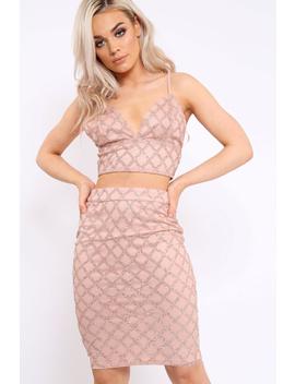 Pink Glitter Diamond Co Ord Set   Kiya by Rebellious Fashion