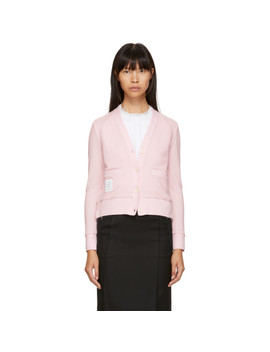 Pink Piqué Cardigan by Thom Browne