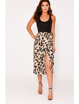 Ozi Leopard Print Satin Wrap Front Midi Skirt by In The Style