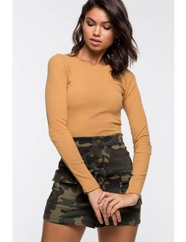 Long Sleeve Ribbed Crop Top by A'gaci