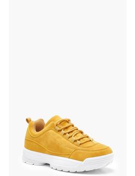 Chunky Faux Suede Trainers by Boohoo