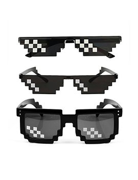[3 Pack] Thug Life Sunglasses, Men Women Glass 8 Bit Pixel Mosaic Glasses Photo Props Unisex Sunglass Toy   Black by Ysshui