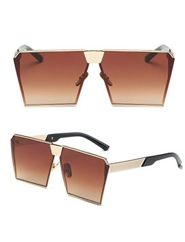 Niceskin Retro Oversized Mirrored Sunglasses Shades For Women, Resin And Metal (Gold&Tea) by Niceskin