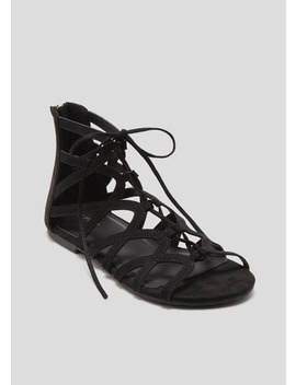 Lace Up Caged Ghillie Gladiator Sandals by Matalan