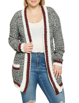 Plus Size Shawl Collar Cardigan by Rainbow
