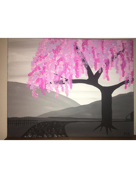 Pink Tree With Gray Background, Pink Tree Painting, Acrylic Canvas Painting, Gray Background, Pink And Gray, Tree Painting by Fun Art Not Fine Art