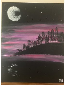 Nighttime Forest Acrylic Painting, Pink Sky, Night Scene, Forest Acrylic Canvas by Fun Art Not Fine Art