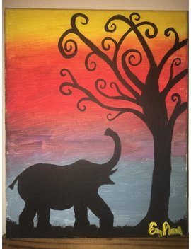 Elephant Painting, Tree Painting, Elephant And Tree, Elephant Silhouette, Tree Silhouette, Acrylic Canvas Paintnig by Fun Art Not Fine Art