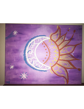 Sun And Moon Acrylic Painting, Purple Sun Painting, Day And Night Canvas by Fun Art Not Fine Art