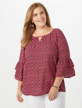 Plus Size Printed Double Ruffle Bell Sleeve Blouse by Dressbarn