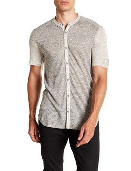 Heathered Short Sleeve Slim Fit Linen Shirt by John Varvatos Collection