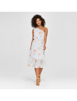 Women's Floral Print One Shoulder Ruffle Midi Dress   Who What Wear™ Blue by Shop All Who What Wear