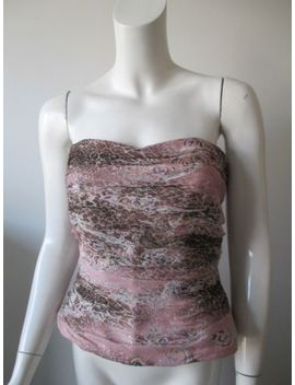 Kay Unger Ny Pink Brown Metallic Animal Prints Silk Corset Strapless Top 14 by Kay Unger