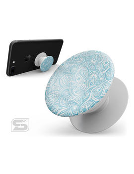 Light Blue Paisley Floral   Skin Decal Kit For The Pop Sockets Smartphone & Tablet Grip Stand by The Skin Dudes