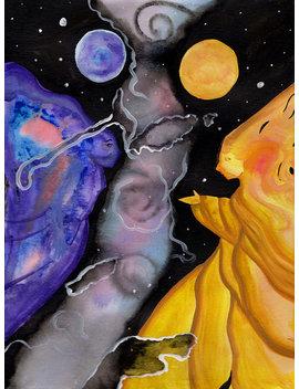 Original Art Abstract Traditional Painting Watercolor 9x11 Sun Moon Nebula Women Planets Stars Celestial Space Illustration Doodle 11x14mat by Grand Potato Studio